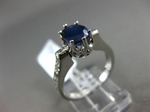 ESTATE 1.49CT ROUND DIAMOND & OVAL SAPPHIRE 14KT WHITE GOLD 3D ENGAGEMENT RING