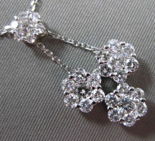ANTIQUE 1.35CT DIAMOND 14KT WHITE GOLD 3D CLUSTER FLOWER DROP PENDANT #21049