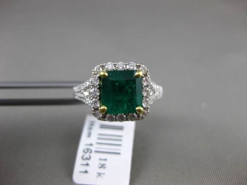 ANTIQUE 2.39CT DIAMOND & EMERALD 18K WHITE GOLD 3D FILIGREE HALO ENGAGEMENT RING
