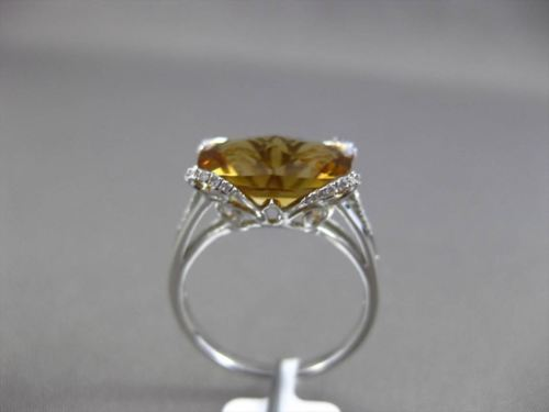 ANTIQUE 4.79CTW DIAMOND & EXTRA FACET CITRINE 14KT WHITE GOLD 3D BUTTERFLY RING