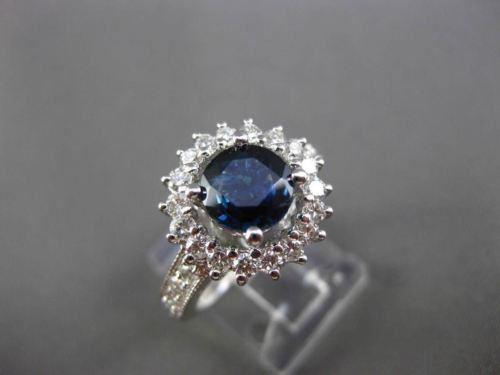 ESATE LARGE 2.71CT DIAMOND & SAPPHIRE 14KT WHITE GOLD HALO ENGAGEMENT RING 22750