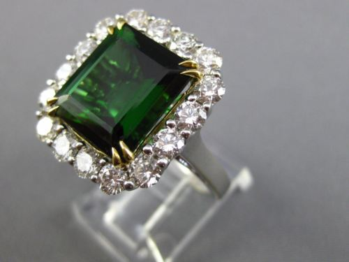 LARGE 9.44CT DIAMOND & AAA TSAVORITE 18KT TWO TONE GOLD FILIGREE ENGAGEMENT RING