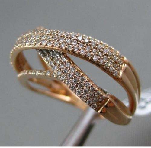 ESTATE WIDE .62CT DIAMOND 14KT ROSE GOLD 3D X CRISS CROSS MULTI ROW WEDDING RING