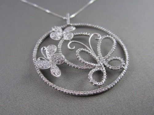 ANTIQUE 1.77CTW DIAMOND 18KT WHITE GOLD 3D CIRCULAR MULTI BUTTERFLY PENDANT
