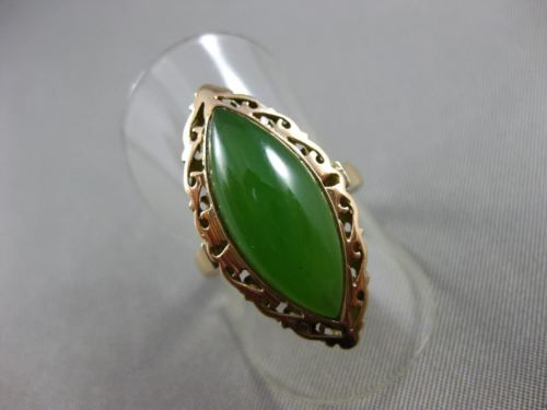 ANTIQUE LARGE 14KT ROSE GOLD AAA NATURAL GREEN JADE FILIGREE FUN RING #19464