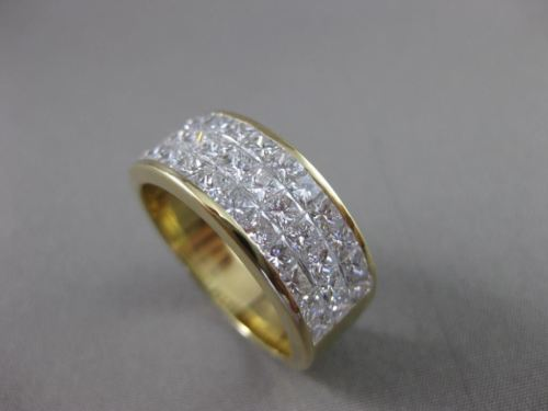ESTATE WIDE 3.30CT DIAMOND 18KT YELLOW GOLD PRINCESS CUT ANNIVERSARY RING #21678