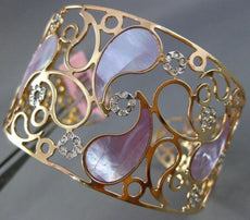 ESTATE LARGE .70CT DIAMOND 14KT ROSE GOLD MOTHER OF PEARL FLOWER BANGLE BRACELET