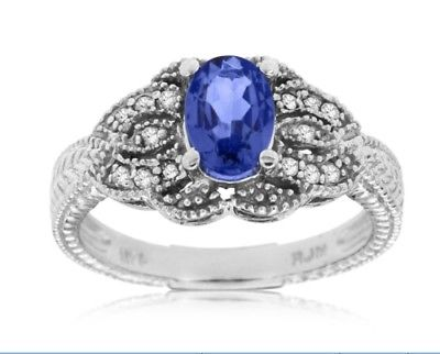 ESTATE .99CT DIAMOND & AAA TANZANITE 14KT WHITE GOLD 3D FILIGREE ENGAGEMENT RING