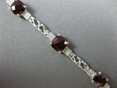 7.69CT DIAMOND & AAA GARNET 14KT WHITE GOLD PAST PRESENT FUTURE TENNIS BRACELET