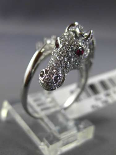 ESTATE 1.17CT DIAMOND & AAA RUBY 18KT WHITE GOLD 3D CLASSIC MILGRAIN HORSE RING