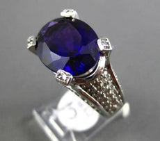 ESTATE LARGE 8.25CTW DIAMOND & AAA AMETHYST 14KT WHITE GOLD 3D COCKTAIL RING