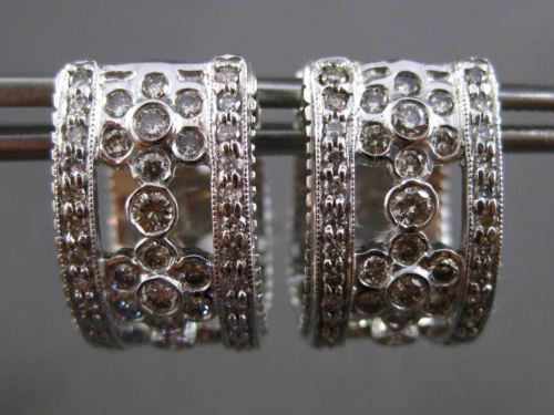 ANTIQUE 1.14CT DIAMOND 14KT WHITE GOLD 3D FILIGREE FLOWER HUGGIE EARRINGS