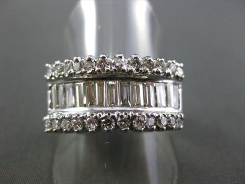 ANTIQUE WIDE 1.82CT DIAMOND BAGUETTE & ROUND 14KT W GOLD ANNIVERSARY RING #2137