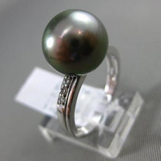 ESTATE .07CT DIAMOND 14K WHITE GOLD AAA TAHITIAN PEARL CLASSIC SHARED PRONG RING