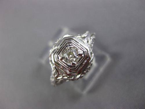 ANTIQUE WIDE .15CT OLD MINE DIAMOND 18KT WHITE GOLD SQUARE ENGAGEMENT RING 26037
