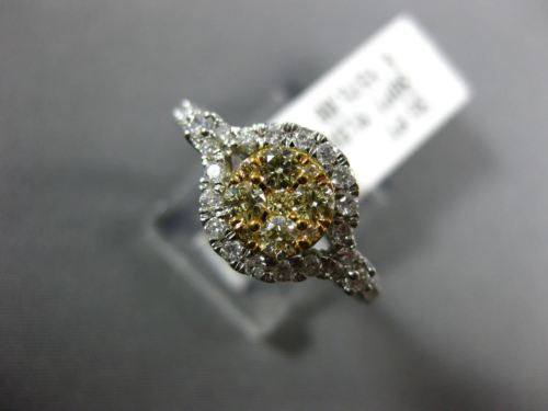 .65CT DIAMOND & FANCY YELLOW DIAMOND 14KT 2 TONE GOLD CLUSTER HALO PROMISE RING