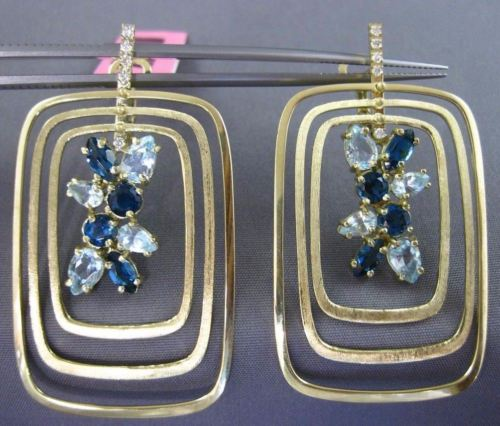 5.14CT DIAMOND & AAA AQUAMARINE BLUE TOPAZ 14KT YELLOW GOLD 3D HANGING EARRINGS