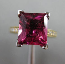 ESTATE 3.18CT DIAMOND & PINK TOURMALINE 14KT 2 TONE GOLD CLASSIC ENGAGEMENT RING