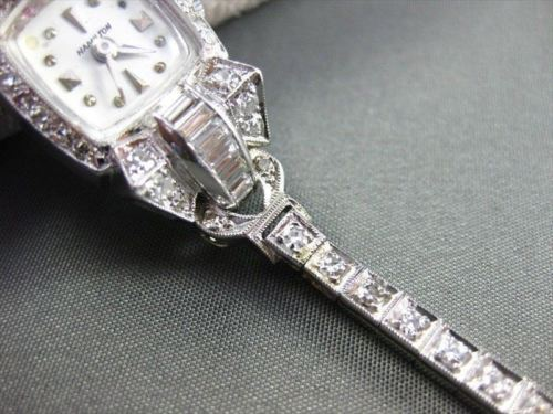 ANTIQUE 2.0CTW OLD MINE DIAMOND PLATINUM HAMILTON WATCH F/G VVS AMAZING!! #22125