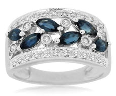 1.40CT ROUND DIAMOND & AAA MARQUISE SAPPHIRE 14KT WHITE GOLD 3D ANNIVERSARY RING