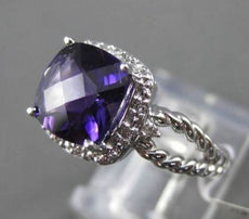 ESTATE 2.0CTW DIAMOND & AAA EXTRA FACET AMETHYST 14KT WHITE 3D ENGAGEMENT RING