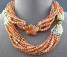ESTATE EXTRA LONG 14KT YELLOW GOLD & 925 CORAL & FRESHWATER PEARL NECKLACE 25361
