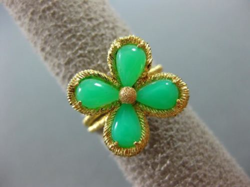 ESTATE WIDE AAA JADE 18KT YELLOW GOLD HANDCRAFTED FOUR CLOVER FLOWER RING
