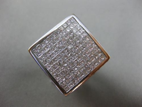 EXTRA LARGE 6.50CT ROUND & PRINCESS DIAMOND 18K WHITE GOLD SQUARE INVISIBLE RING