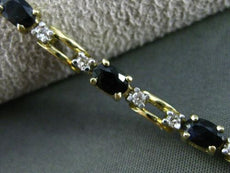 ESTATE 5.41CT DIAMOND & SAPPHIRE 14K WHITE & YELLOW GOLD 3 STONE TENNIS BRACELET