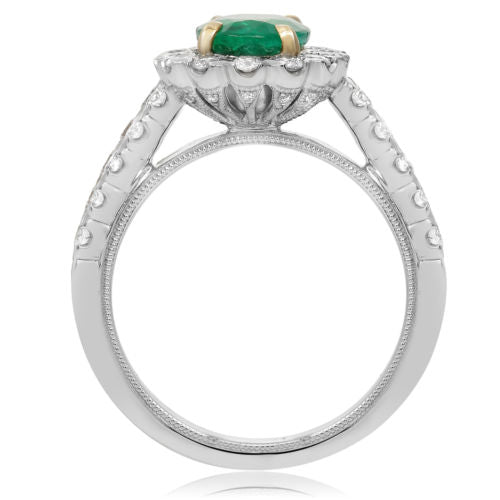 ESTATE 2.35CT DIAMOND & AAA EMERALD 14K 2 TONE GOLD OVAL FRIENDSHIP PROMISE RING