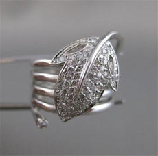 ANTIQUE WIDE PAVE DIAMOND 14K WHITE GOLD COIL LEAF BAND RING 21MM F VVS #16809