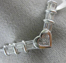 LARGE 1.20CT PRINCESS & BAGUETTE DIAMOND 14KT WHITE GOLD V SHAPE HEART NECKLACE