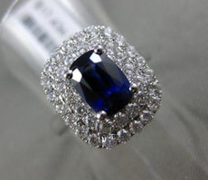 ESTATE 2.59CT DIAMOND & AAA SAPPHIRE 18KT WHITE GOLD DOUBLE HALO ENGAGEMENT RING