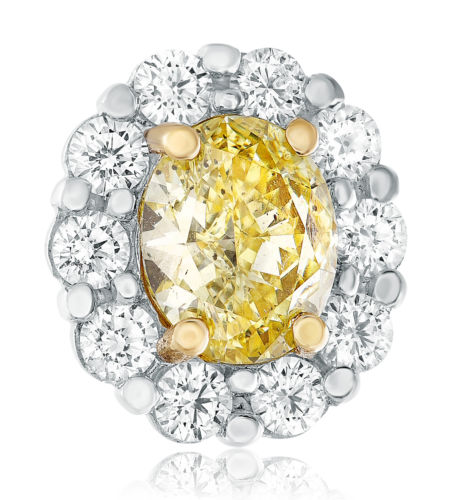 2.44CT WHITE & FANCY YELLOW DIAMOND 18KT TWO TONE GOLD FLOWER HALO STUD EARRINGS