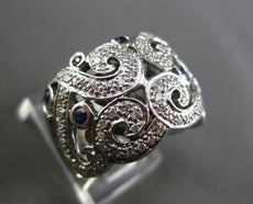 ESTATE LARGE 1.05CT DIAMOND & AAA SAPPHIRE 14K WHITE GOLD FLOR DE LIS RING 20398