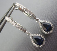 1.27CT DIAMOND & AAA SAPPHIRE 14KT WHITE GOLD PEAR SHAPE HUGGIE HANGING EARRINGS