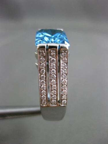 ANTIQUE LARGE 3.76CT DIAMOND & AAA BLUE TOPAZ 14KT WHITE GOLD 3D ENGAGEMENT RING