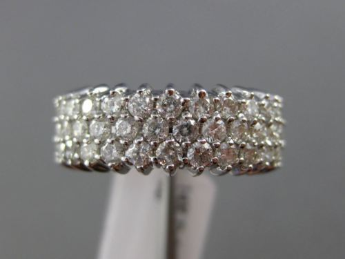 ESTATE WIDE 2CT ROUND DIAMOND 14KT WHITE GOLD 3 ROW SIZABLE ETERNITY RING BAND