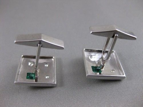 ANTIQUE 1CT OLD MINE EURO CUT DIAMOND EMERALD 14K WHITE GOLD CUFFLINKS 18M #2089