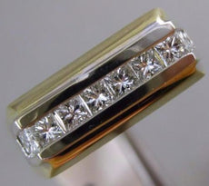ESTATE .72CT DIAMOND 14KT WHITE & YELLOW GOLD 3D 5 STONE RECTANGULAR MENS RING