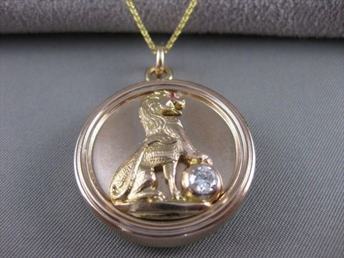 ANTIQUE DIAMOND RUBY 14K ROSE GOLD POLICE OFFICER GUILD POG 20 YEARS LOCKET 2608