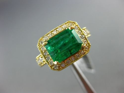 LARGE 3.01CT DIAMOND & AAA COLOMBIAN EMERALD 18KT YELLOW GOLD 3D ENGAGEMENT RING