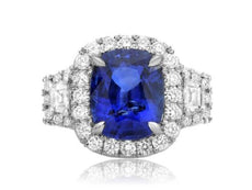 ESTATE GIA CERTIFIED 6CT DIAMOND & AAA SAPPHIRE PLATINUM 3D HALO ENGAGEMENT RING