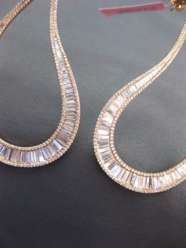 LARGE 5.74CT ROUND & BAGUETTE DIAMOND 18KT ROSE GOLD TEAR DROP HANGING EARRINGS