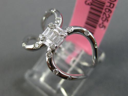 ESTATE WIDE .23CT ROUND & BAGUETTE DIAMOND 18KT WHITE GOLD 3D SQUARE LOVE RING