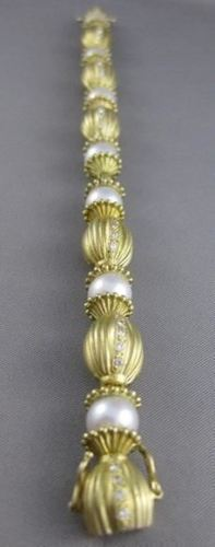 ESTATE LARGE DIAMOND 8.5M WHITE SOUTH SEA PEARL 18K GOLD FILIGREE BRACELET #2617
