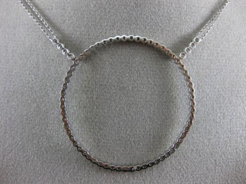 EXTRA LARGE 1.20CT DIAMOND 14KT WHITE GOLD 3D CIRCLE OF LIFE FILIGREE NECKLACE