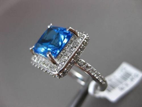 ESTATE LARGE 9.85CT DIAMOND & AAA BLUE TOPAZ 14KT WHITE GOLD 3D SQUARE HALO RING