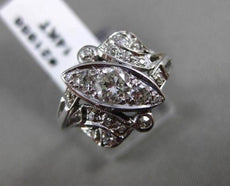 ANTIQUE WIDE .75CT OLD MINE DIAMOND 14KT WHITE GOLD FLORAL MILGRAIN RING #21956