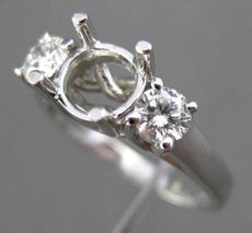 ESTATE .45CT DIAMOND 14KT WHITE GOLD 3 STONE SEMI MOUNT ENGAGEMENT RING #18327